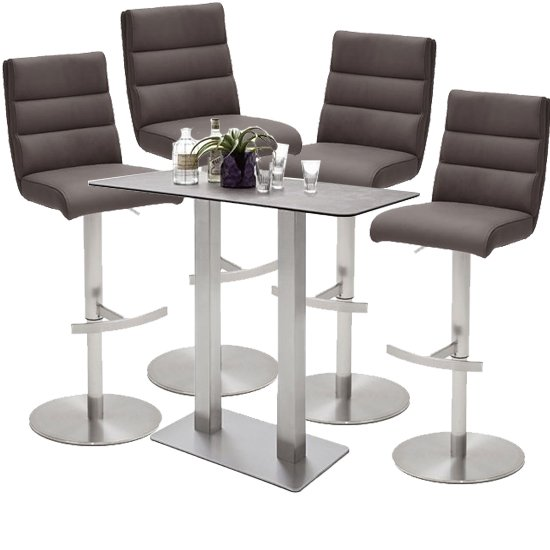 Soho Glass Bar Table With 4 Hiulia Brown Stools