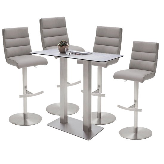 Soho Glass Bar Table With 4 Hiulia Ice Grey Leather Stools
