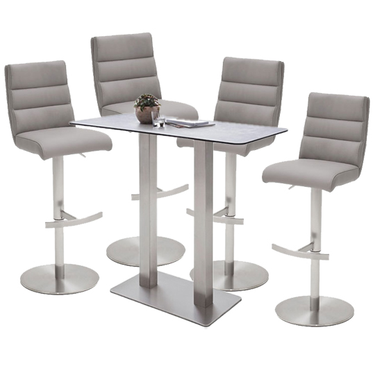 Soho Glass Bar Table With 4 Hiulia Ice Grey Stools