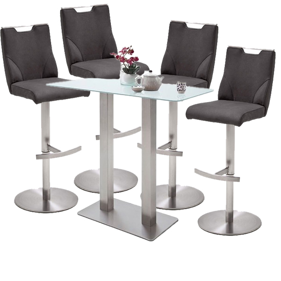 Soho Glass Bar Table With 4 Jiulia Anthracite Leather Stools