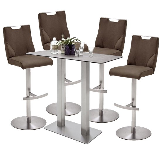 Soho Glass Bar Table With 4 Jiulia Brown Leather Stools