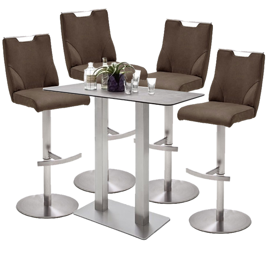Soho Glass Bar Table With 4 Jiulia Brown Stools