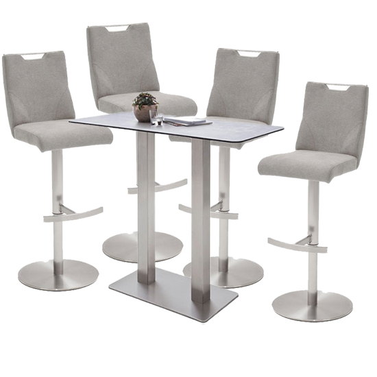 Soho Glass Bar Table With 4 Jiulia Ice Grey Fabric Stools