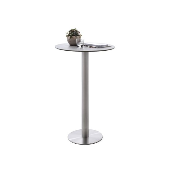 Soho Glass Bar Table Round In Light Grey And Brushed Steel Base