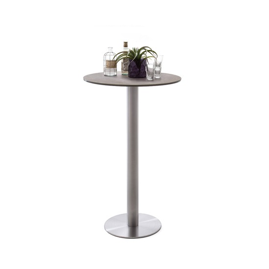 Soho Glass Bar Table Round In Mokka And Brushed Stainless Steel