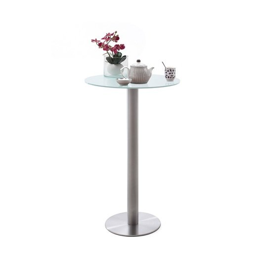 Soho Glass Bar Table Round In Matt White And Brushed Steel Base