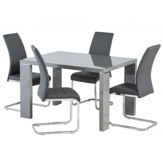 Soho Glass Top Dining Set In Grey High Gloss With 4 Soho Chairs