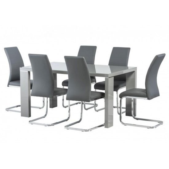 Soho Glass Top Dining Set In Grey High Gloss With 6 Soho Chairs