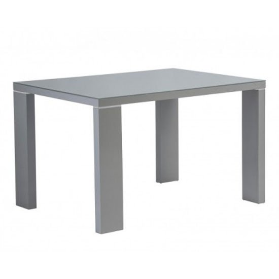 Soho Glass Top Small Dining Table In Grey High Gloss