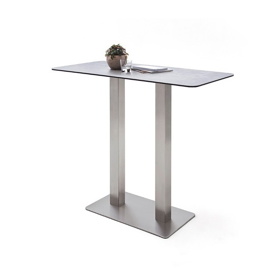 Soho Glass Bar Table Rectangular In Light Grey And Brushed Steel