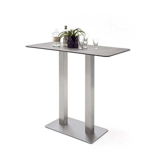 Soho Glass Bar Table Rectangular In Mokka And Brushed Steel Base