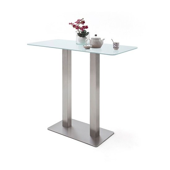 Soho Glass Bar Table Rectangular In Matt White And Brushed Steel