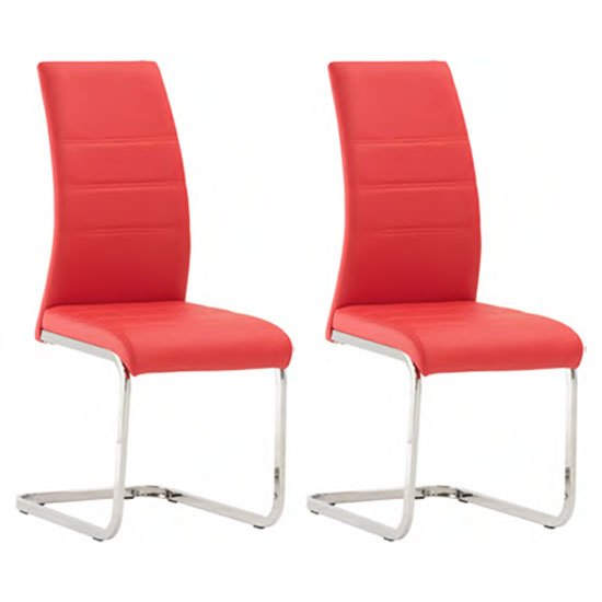 Soho Red Faux Leather Dining Chair In A Pair