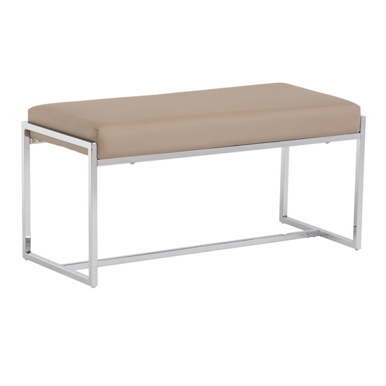Soho Small Faux Leather Dining Bench In Stone
