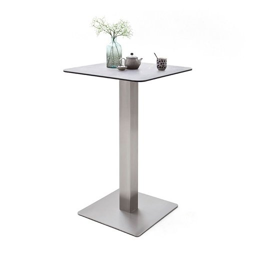 Soho Glass Bar Table Square In Light Grey And Brushed Steel Base