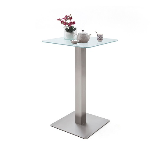 Soho Glass Bar Table Square In Matt White And Brushed Steel Base