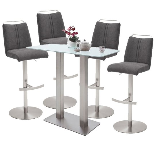 Soho White Glass Bar Table With 4 Giulia Fabric Anthracite Stool