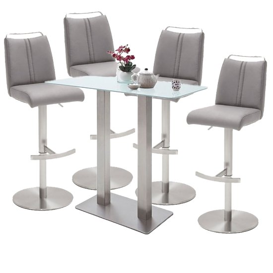 Soho White Glass Bar Table With 4 Giulia Ice Grey Leather Stools