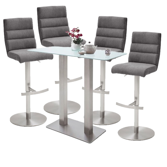 Soho White Glass Bar Table With 4 Hiulia Fabric Anthracite Stool
