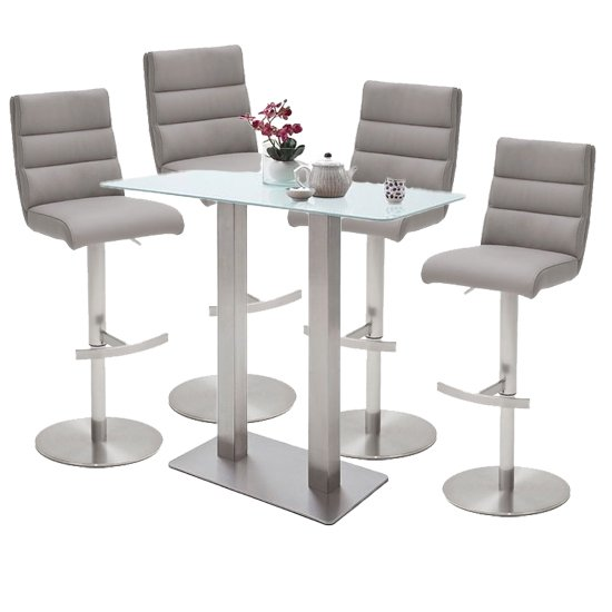 Soho White Glass Bar Table With 4 Hiulia Ice Grey Leather Stools
