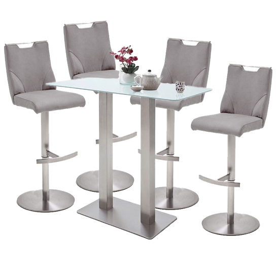 Soho White Glass Bar Table With 4 Jiulia Ice Grey Leather Stools
