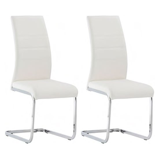 Soho White Faux Leather Dining Chair In A Pair