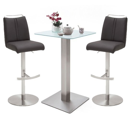 Soho White Glass Bar Table With 2 Giulia Anthracite Stools