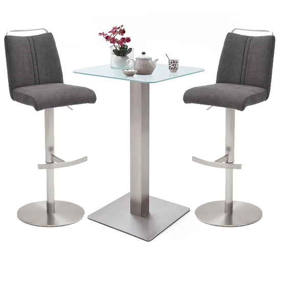 Soho White Glass Bar Table With 2 Giulia Fabric Anthracite Stool