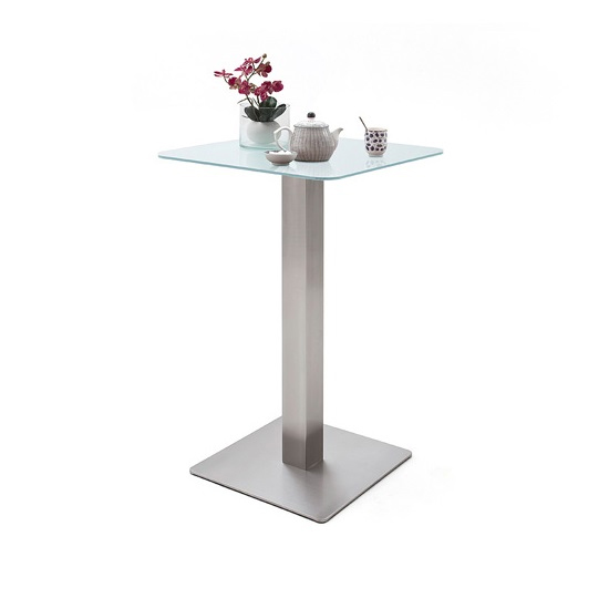 Soho White Glass Bar Table With 2 Giulia Ice Grey Fabric Stools_2