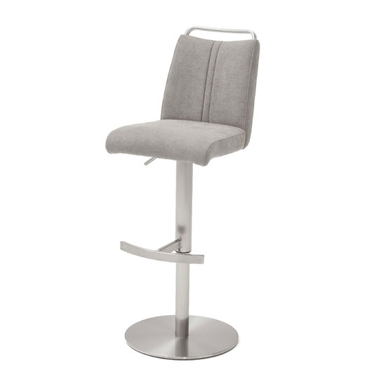 Soho White Glass Bar Table With 2 Giulia Ice Grey Fabric Stools_3