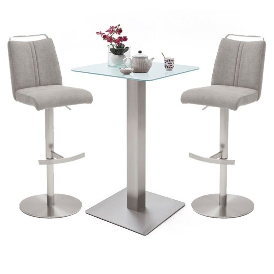 Soho White Glass Bar Table With 2 Giulia Ice Grey Fabric Stools_1