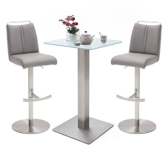Soho White Glass Bar Table With 2 Giulia Ice Grey Leather Stools