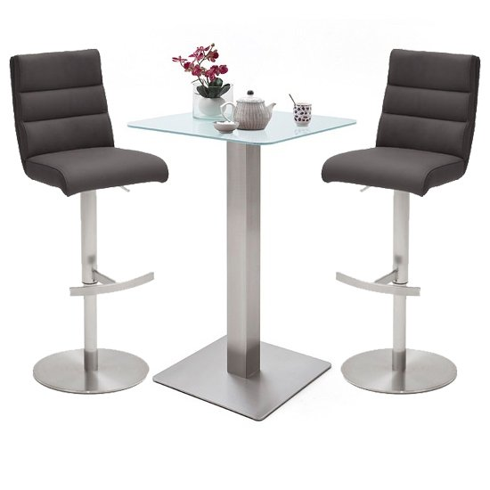 Soho White Glass Bar Table With 2 Hiulia Anthracite Stools