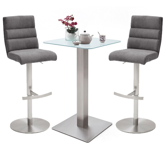Soho White Glass Bar Table With 2 Hiulia Fabric Anthracite Stool