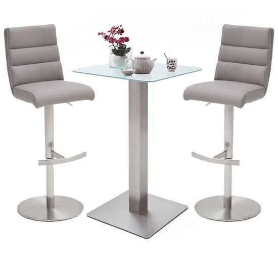 Soho White Glass Bar Table With 2 Hiulia Ice Grey Leather Stools