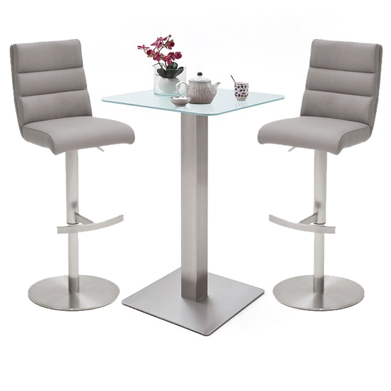 Soho White Glass Bar Table With 2 Hiulia Ice Grey Stools