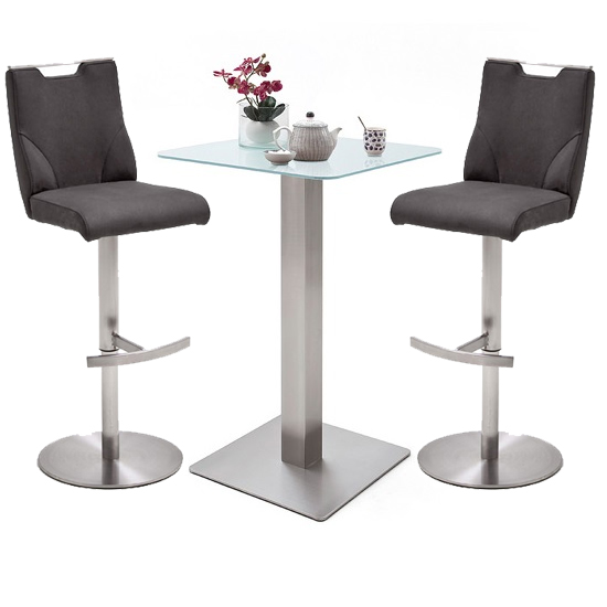 Soho White Glass Bar Table With 2 Jiulia Anthracite Stools