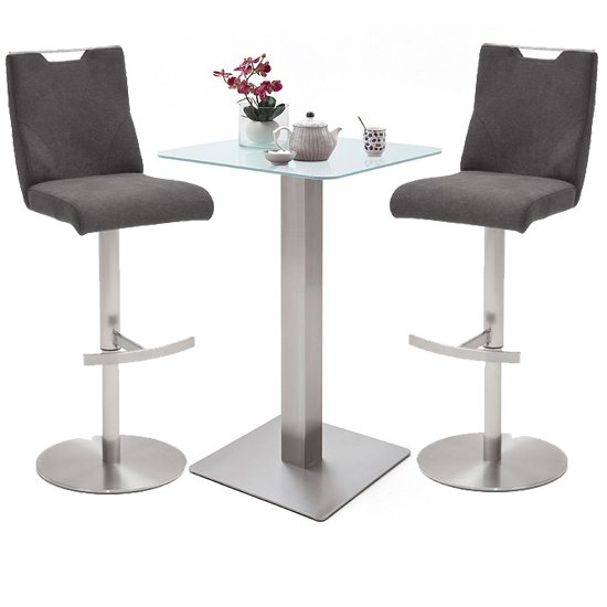 Soho White Glass Bar Table With 2 Jiulia Fabric Anthracite Stool