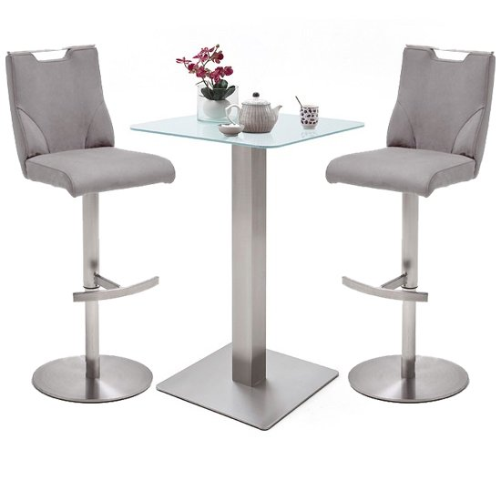 Soho White Glass Bar Table With 2 Jiulia Ice Grey Leather Stools