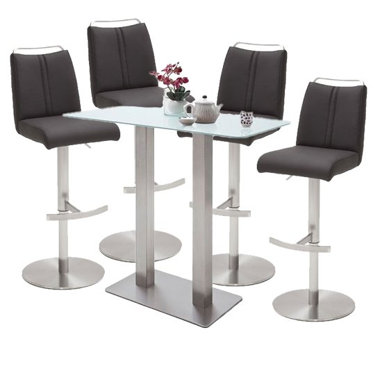 Soho White Glass Bar Table With 4 Giulia Anthracite Stools