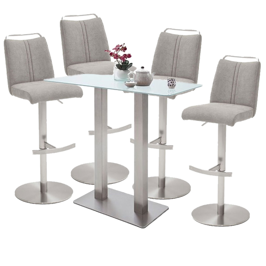 Product photograph showing Soho White Glass Bar Table With 4 Giulia Ice Grey Fabric Stools