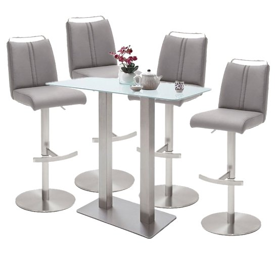 Soho White Glass Bar Table With 4 Giulia Ice Grey Stools_1