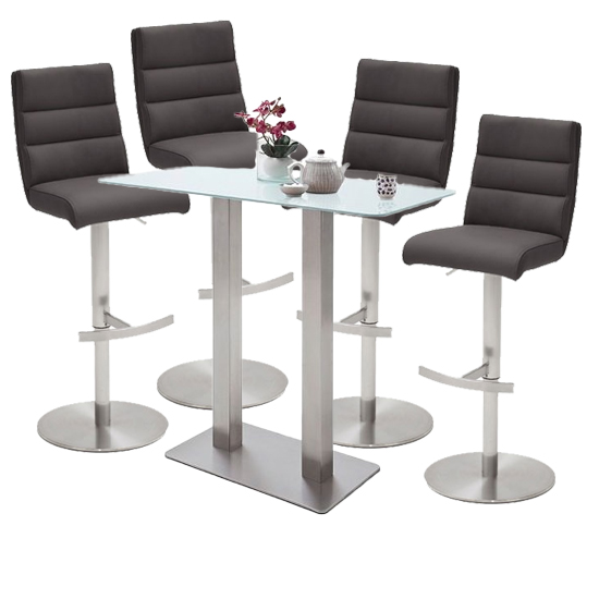 Soho White Glass Bar Table With 4 Hiulia Anthracite Stools