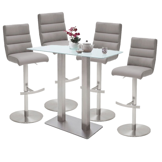 Soho White Glass Bar Table With 4 Hiulia Ice Grey Stools