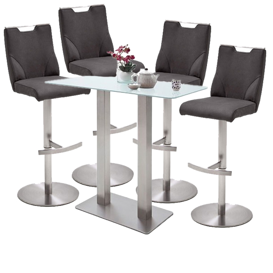 Soho White Glass Bar Table With 4 Jiulia Anthracite Stools