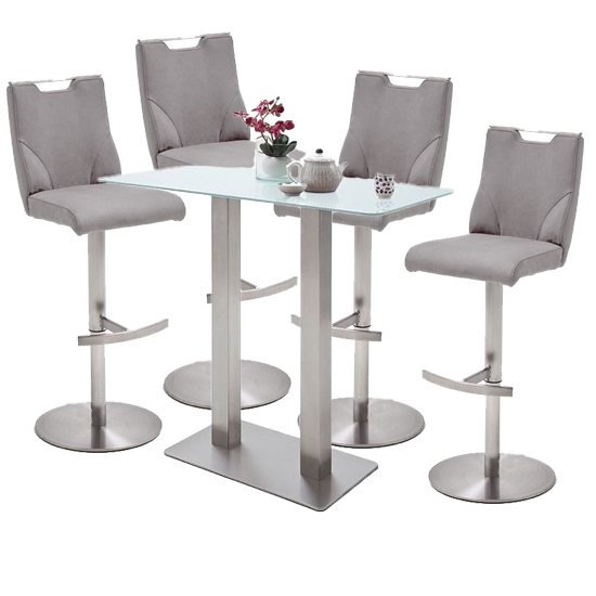Soho White Glass Bar Table With 4 Jiulia Ice Grey Stools
