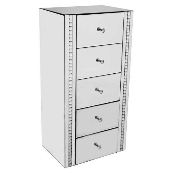 Solano Mirrored Glass Chest Of Drawers With 5 Drawers