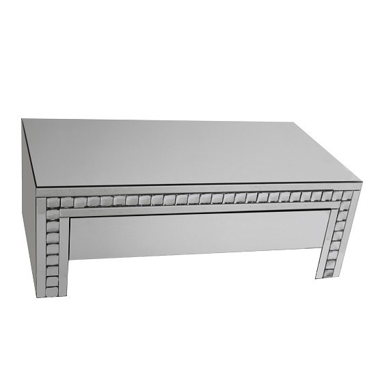 Solano Mirrored Glass Coffee Table With 1 Drawer