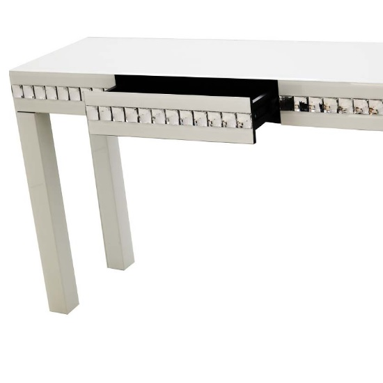 Solano modern white glass console table with drawer 31259 for White and glass console table