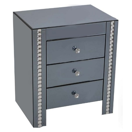 Solano Smoke Glass Bedside Cabinet With 3 Drawers